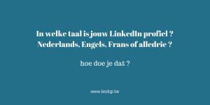 In welke taal is jouw LinkedIn profiel ? Nederlands, Engels, Frans of alledrie ?