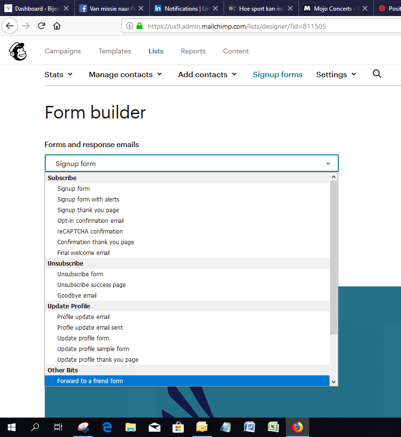form builder mailchimp