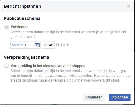 FB bericht inplannen
